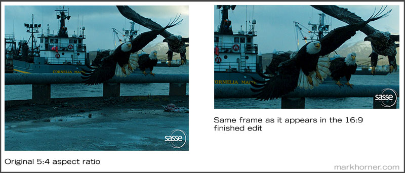 Side by side comparison showing original 5 by 4 aspect ratio and 16 by 9 aspect ratio. Each image is the same still frame taken from video used in this video editing project.